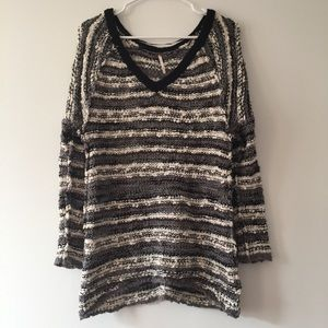 Free People Striped Knobby Knit Cozy Sweater Tunic